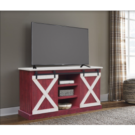 Red/White Barn Door TV Stand