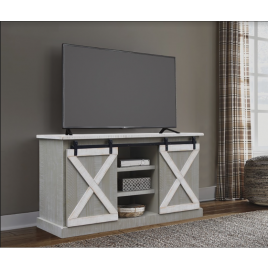 Sandstone/White Barn Door TV Stand